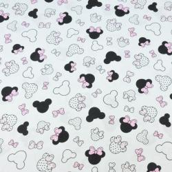 MIKI małe czarno różowe z kokardką na białym tle