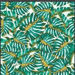 Imagén: Dzianina bawełniana Jersey druk cyfrowy - Liście monstera gęste zielono złote na białym tle