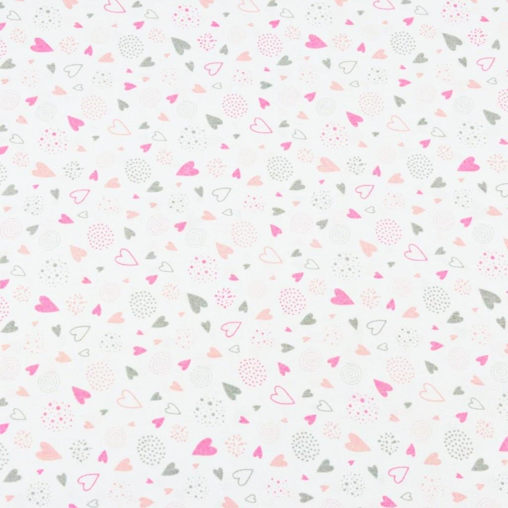 serduszka MINI z kulami różowo szare na białym tle