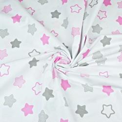 gwiazdki piernikowe różowo szare na białym tle
