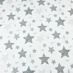 gwiazdki wzorzyste beżowo szare na białym tle