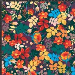 Dzianina bawełniana Jersey druk cyfrowy - kwiaty i liście na fioletowym tle