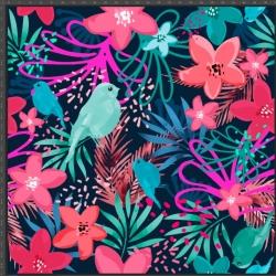 Imagén: Dzianina bawełniana Jersey druk cyfrowy - kolorowe liście z ptakami na granatowym tle