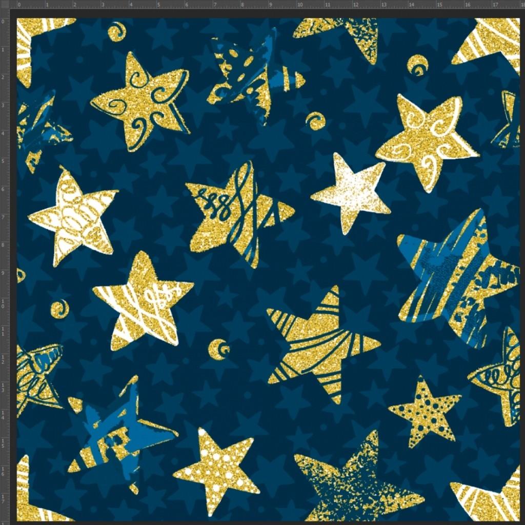 Dzianina bawełniana Jersey druk cyfrowy - gwiazdki złocone na granatowym tle