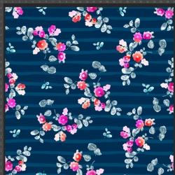 Imagén: Dzianina bawełniana Jersey druk cyfrowy - kwiatki różowe na granatowych pasach