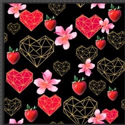 Imagén: Dzianina bawełniana Jersey druk cyfrowy - serca, truskawki i geometryczne na czarnym tle