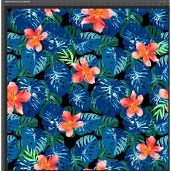 Dzianina bawełniana Jersey druk cyfrowy - kwiaty na niebiesko zielonych liściach monstera