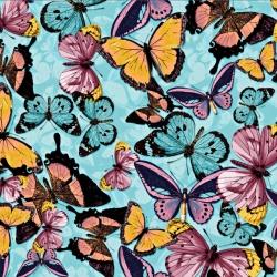 Imagén: Dzianina bawełniana Jersey druk cyfrowy - motyle na niebieskim tle