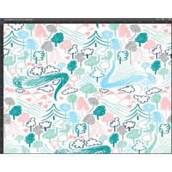 Dzianina bawełniana Interlock druk cyfrowy - pastelowe rysunki na białym tle
