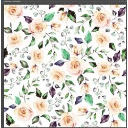 Dzianina bawełniana Interlock druk cyfrowy - różyczki kremowe z zielonymi liśćmi na białym tle