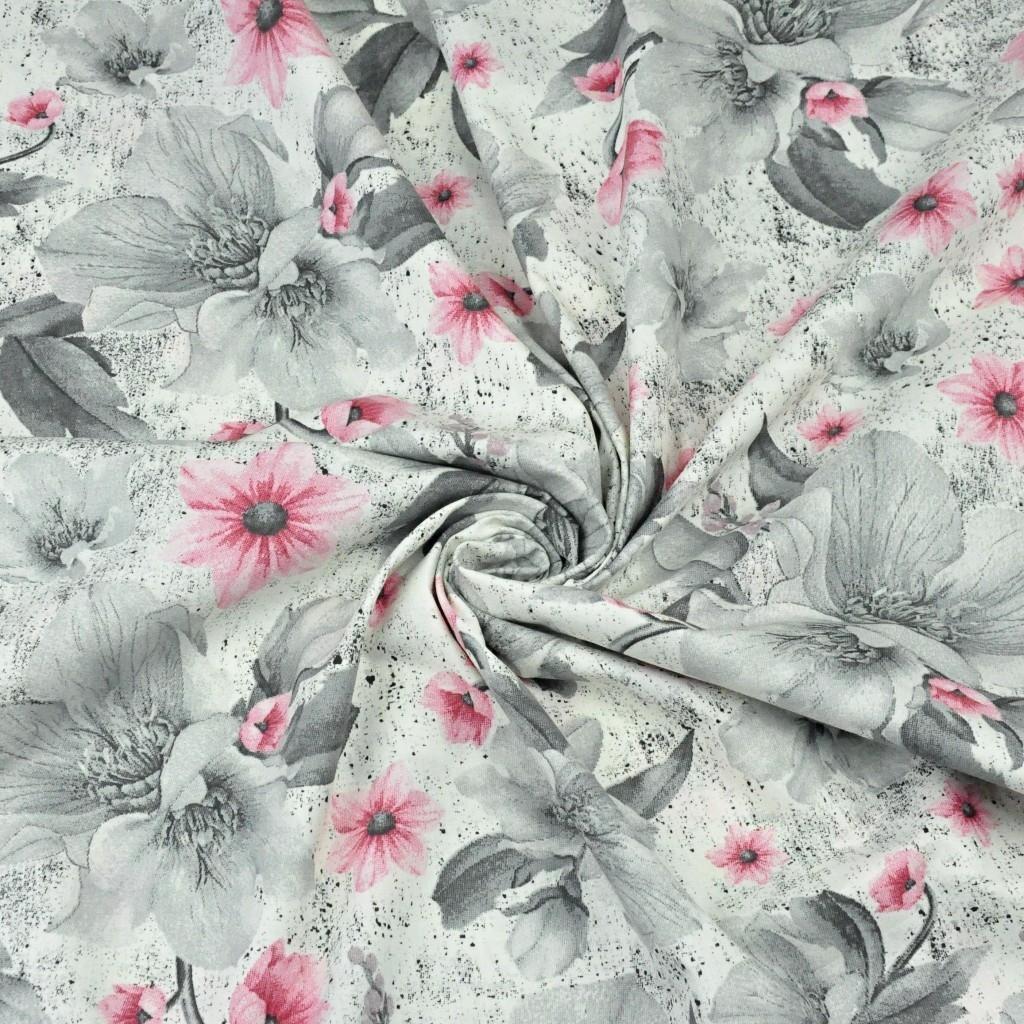 kwiaty magnolie różowo-szare na białym tle - 220 cm