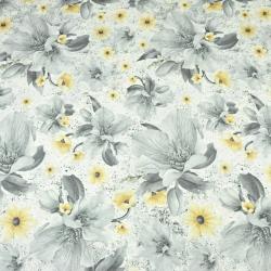 kwiaty magnolie żółto-szare na białym tle - 220 cm