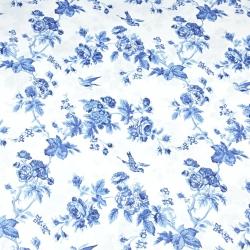 różyczki niebieskie z ptaszkami na białym - 220 cm