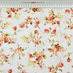 gałązki różyczek żółto-czerwone na białym - 220 cm