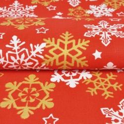 Imagén: Tkanina dekoracyjna biało złote śnieżynki na czerwonym tle