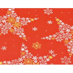 Tkanina dekoracyjna biało złote gwiazdki w śnieżynki na czerwonym tle