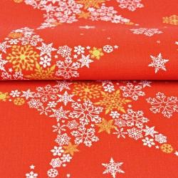 Imagén: Tkanina dekoracyjna biało złote gwiazdki w śnieżynki na czerwonym tle