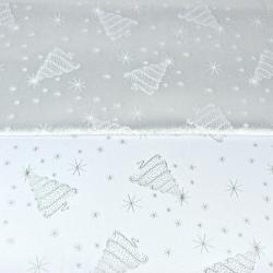Imagén: Tkanina dekoracyjna dwustronna metalizowana nitka - choinki srebrne na białym tle