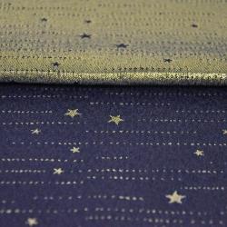 Tkanina dekoracyjna dwustronna metalizowana przędza - gwiazdki złote na granatowym tle