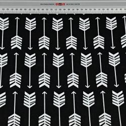 Tkanina w strzałki w rzędach białe na czarnym tle