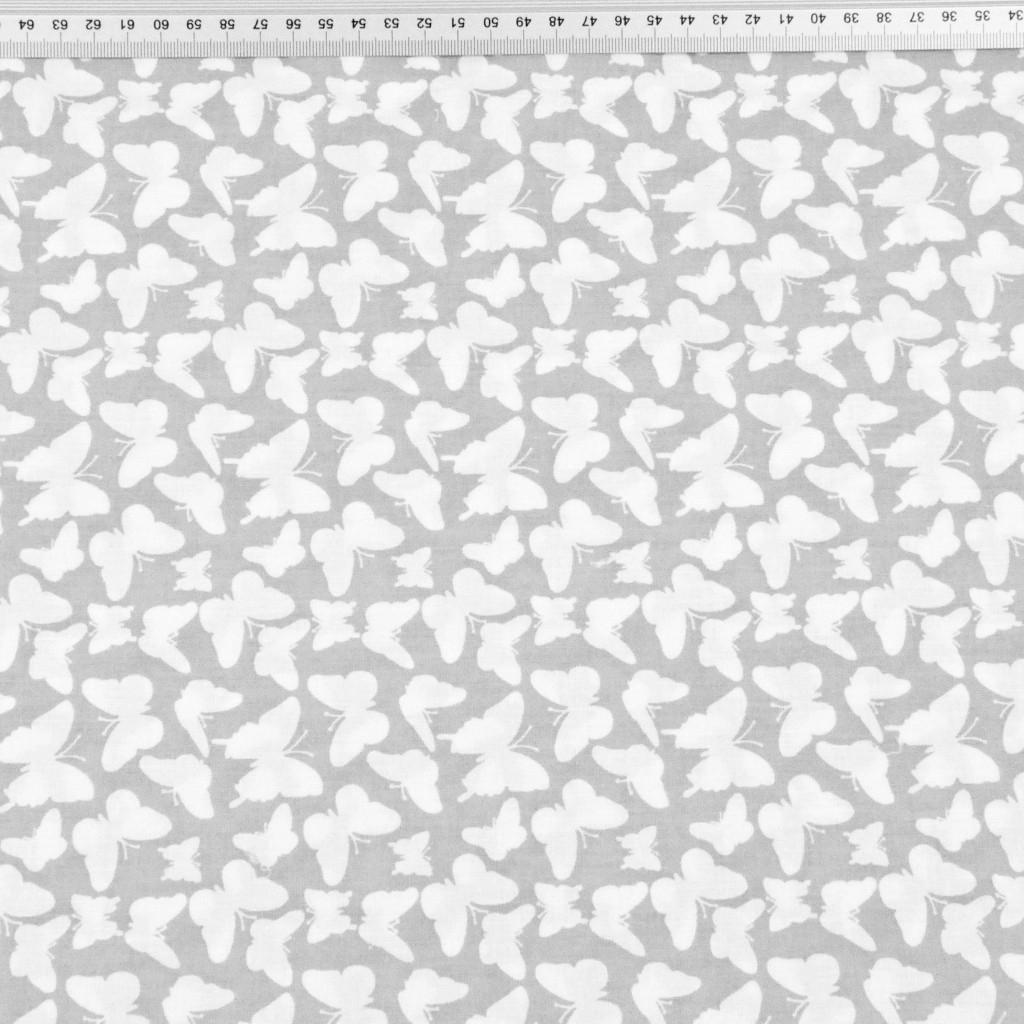 motylki MINI białe na szarym tle