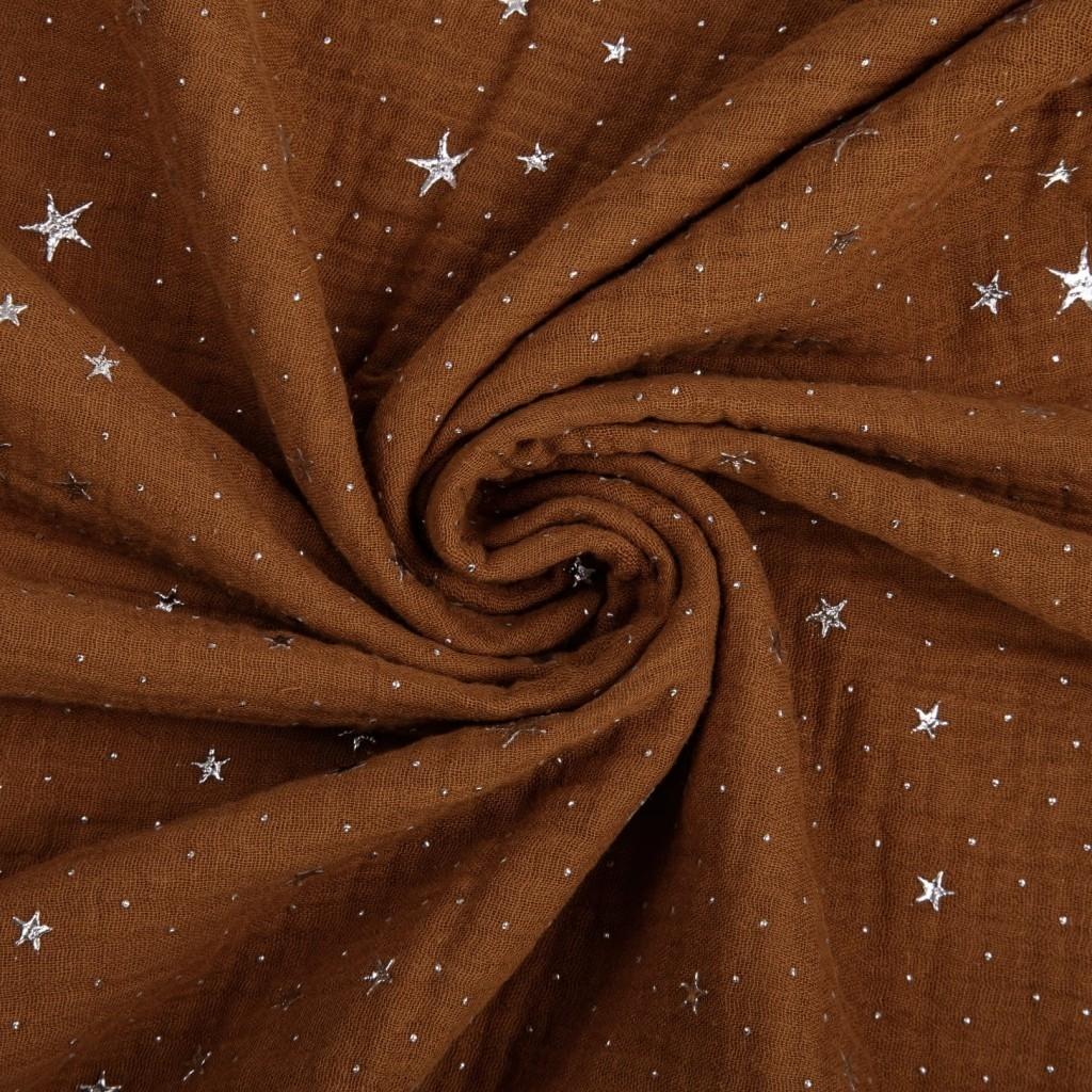 Tkanina Muślin double gauze dyniowy (Pumpkin Spice) w gwiazdki