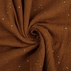 Muślin double gauze dyniowy (Pumpkin Spice) w kropki