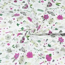 owady na łące fioletowo zielone na białym tle