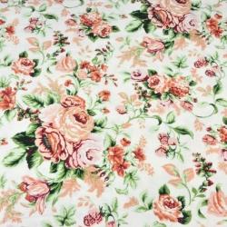 Tkanina Flanela róże angielskie na białym tle