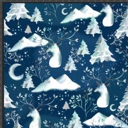 Imagén: Dzianina Jersey druk cyfrowy - świąteczne renifery z górami na granatowym tle