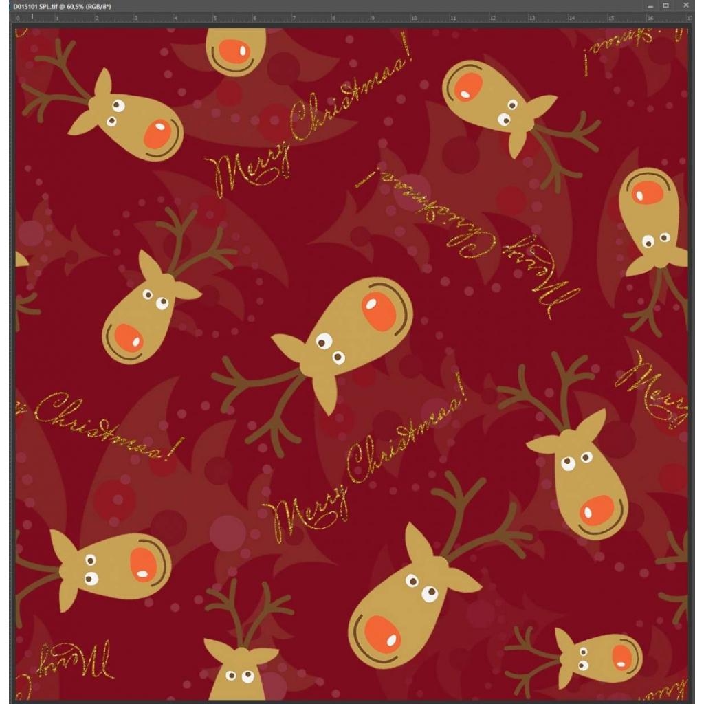 Dzianina Jersey druk cyfrowy - świąteczne renifery na bordowym tle