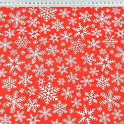 wzór świąteczny śnieżynki białe na czerwonym tle