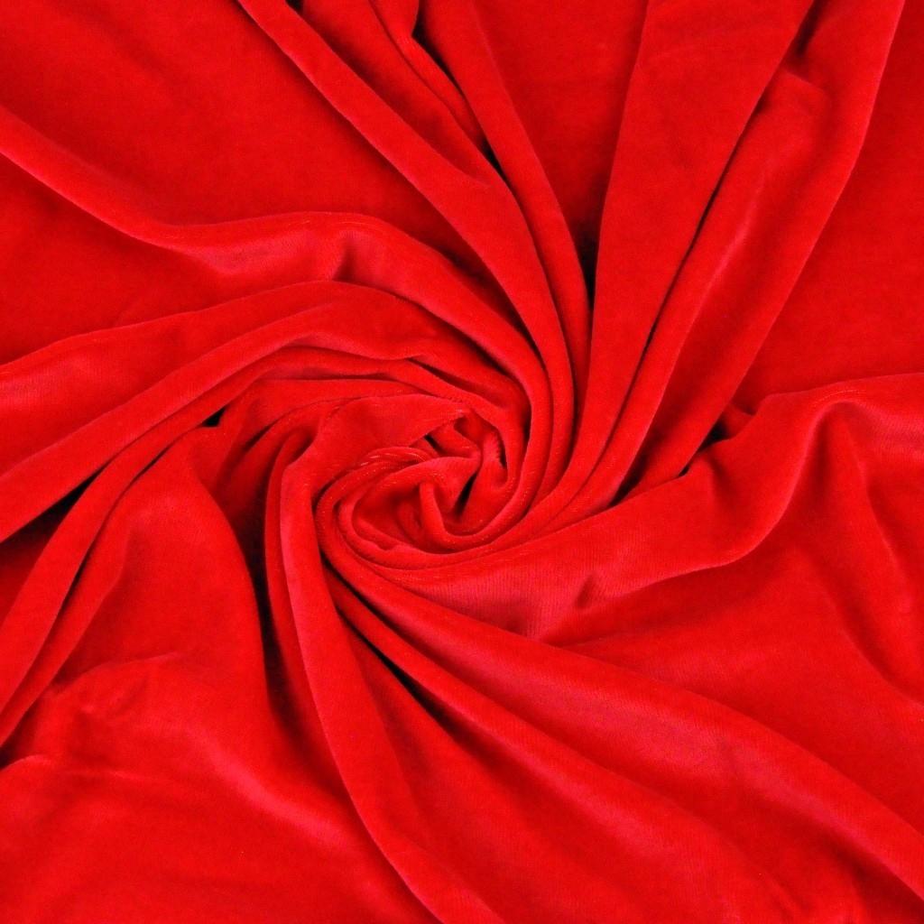 Welur bawełniany odzieżowy - czerwony