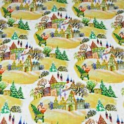 Wzór świąteczny kolorowe domki na białym tle