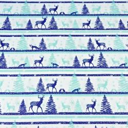 Wzór świąteczny MINI renifery w pasach niebieskie na białym
