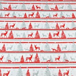 Wzór świąteczny MINI renifery w pasach czerwono szare na białym