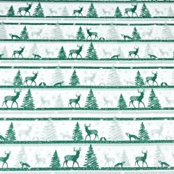 Wzór świąteczny MINI renifery w pasach zielone na białym