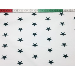 Bawełna Gwiazdki 20mm czarne na białym tle