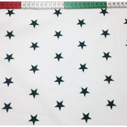 Tkanina w Gwiazdki 20mm czarne na białym tle
