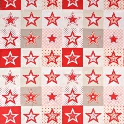 Wzór świąteczny patchwork gwiazdki czerwono białe