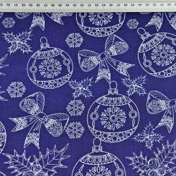 Wzór świąteczny rysowany biały na granatowym tle