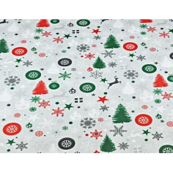 Wzór świąteczny czerwono zielony na szarym tle