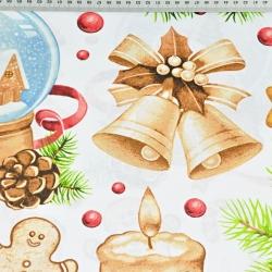Wzór świąteczny dekoracje beżowo czerwone na białym tle