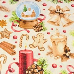 Imagén: Wzór świąteczny dekoracje beżowo czerwone na ecru tle