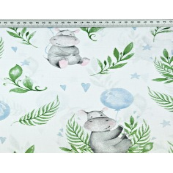 hipopotamy z niebieskimi balonikami na białym tle