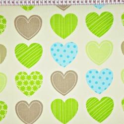 Tkanina w serca wzorzyste zielono brązowe na ecru tle