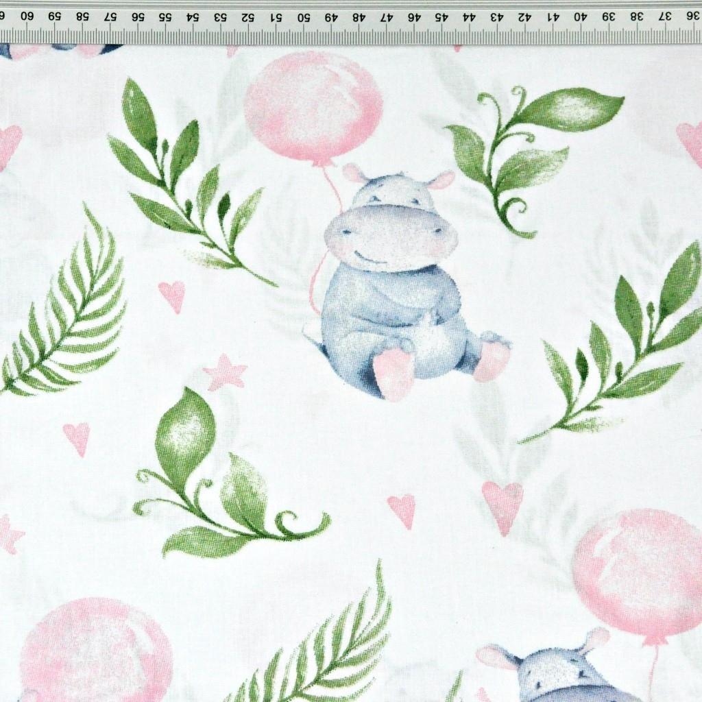hipopotamy z różowymi balonikami na białym tle