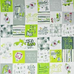 patchwork zwierzęta zielono szare na białym
