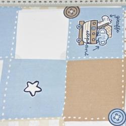 patchwork zwierzęta niebiesko beżowe na białym