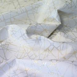Imagén: Tkanina dekoracyjna metalizowana nitka - kreski złoto srebrne na białym tle